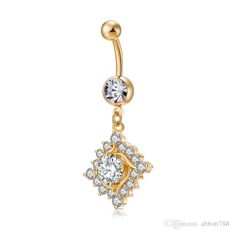 Luxury Sexy Gold Plated Square Rhinestone Stainless Steel Navel Nailing Piercing Women Fashion Body Jewelry Belly Button Rings DH283