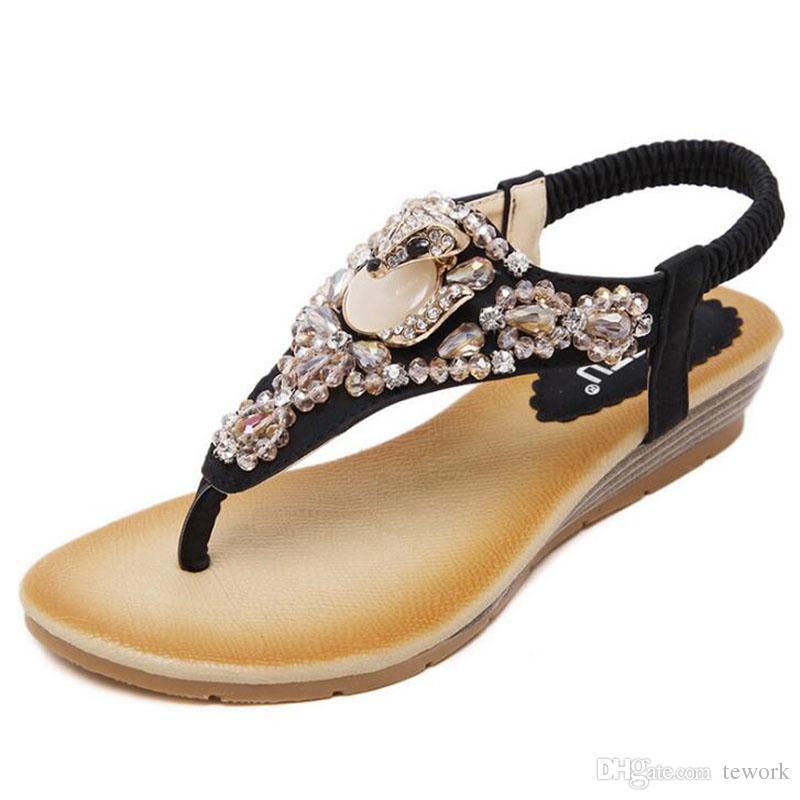 ab6cb634f8d184 Women Sandals 35 40thick Bottom Platform Flip Flops Rhinestone Wedge Heel  Shoes Patchwork Woman Summer Sandals Shoe Shop Cute Shoes From Tework