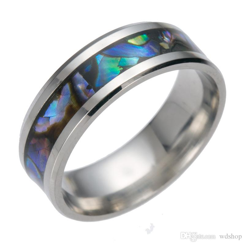 Color Shell Design Titanium Steel Rings High Polishing Original ...