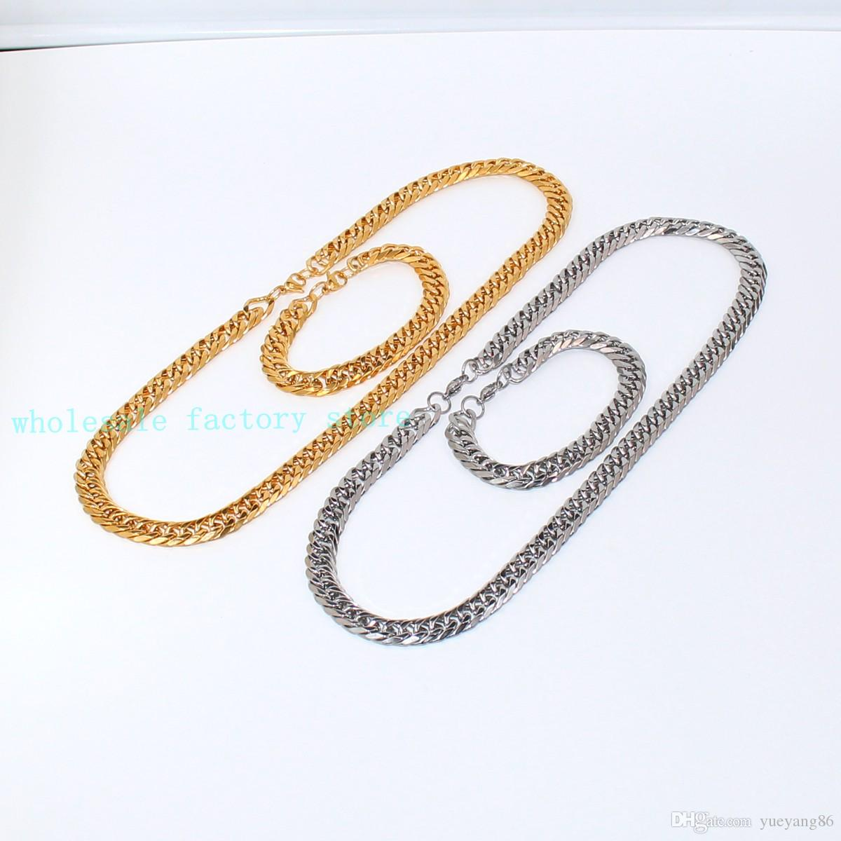 """High Quality Cool Stainless steel 12mm Double Link Curb Chain 24'' Necklace + 8.66"""" Bracelet Fashion Set Lobster Clasp"""