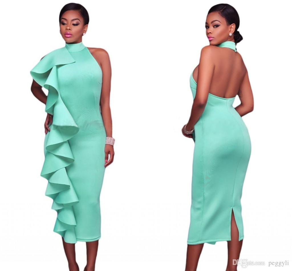 2018 Mint Bodycon Dresses Sexy Women Club Halter High Neck Ruffled ...