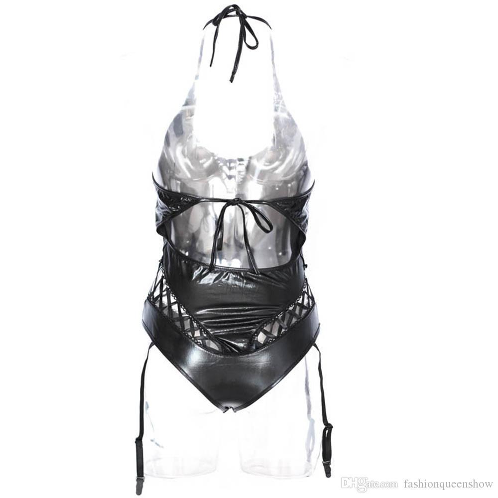 Damen Teddys Gothic Schwarz Kunstleder Body Riemchen Sexy Unterwäsche Lace-up Nachtwäsche Dessous mit Hosenträger Fantasy Catsuit