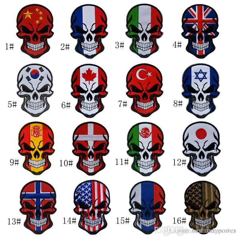 2a527a9ca62b VP-230 Hot Halloween Skull patches embroidered tactical patches with magic  stick US Flag Armband Army patch jacket/cap morale patch