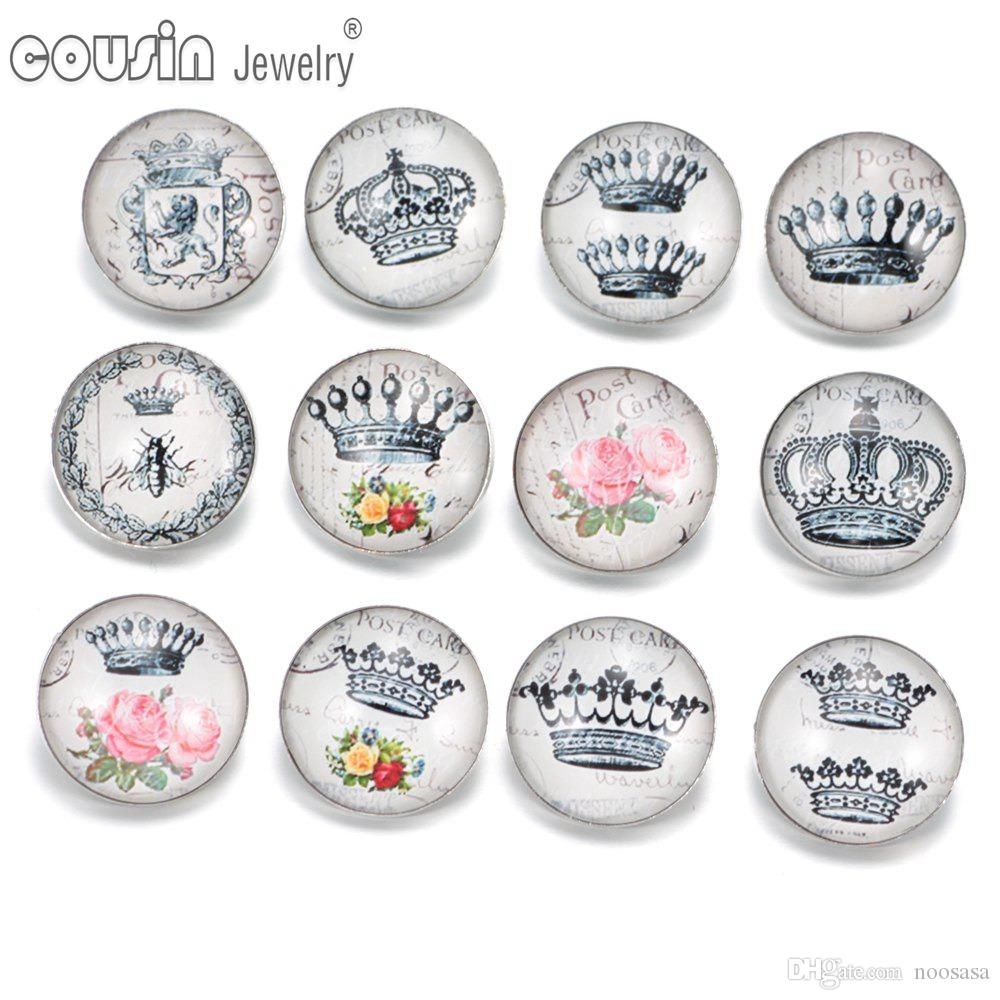 12pcs/lot Mixed styles 18mm snap button Jewelry crown glass Snap Fit snap Bracelet Jewelry KZ0310