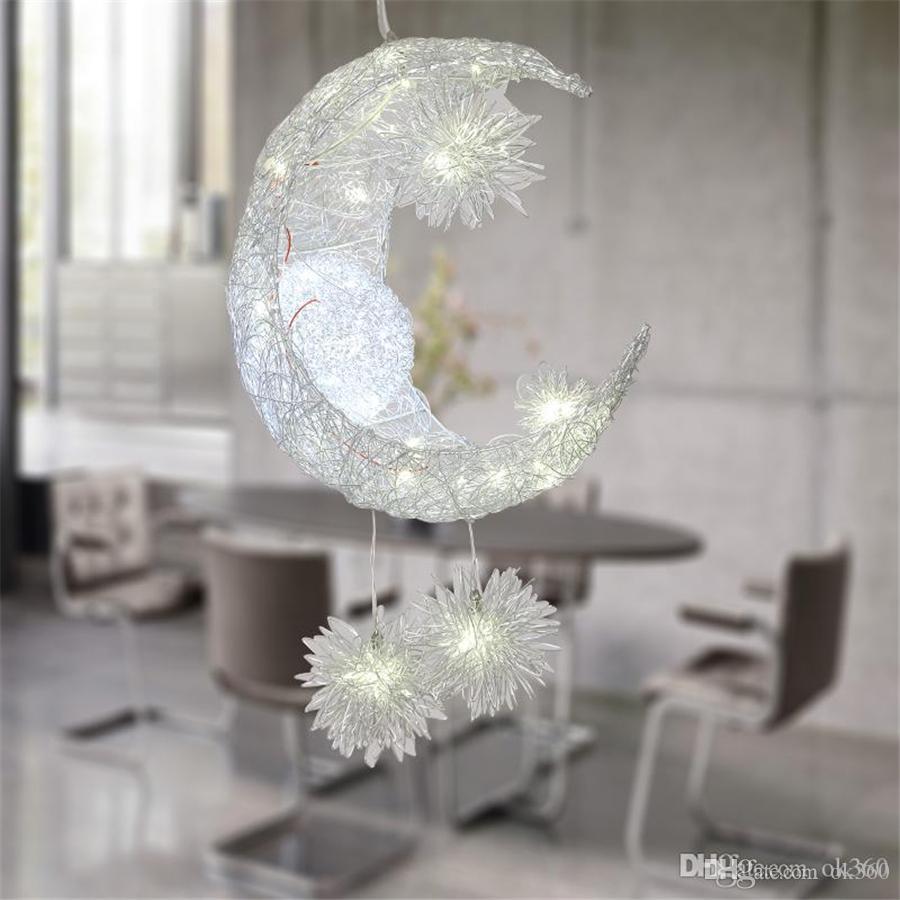 Schlafzimmer-Mond-Stern-hängende Lampen-moderne hängende  Deckenleuchte-Beleuchtungs-Lampe Leuchter-Deckenleuchte mit Birne G4  beleuchtet warme / ...