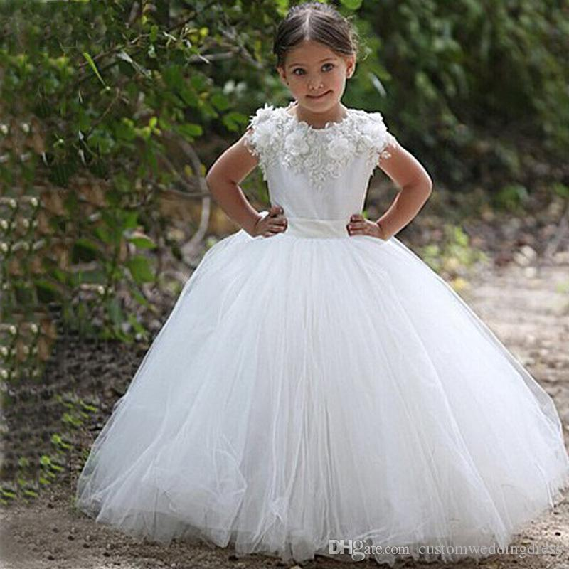 vestidos de daminha White Tulle Lace Appliques Ball Gown Long Flower Girl Dresses For Weddings 2018 Wedding Party Dresses