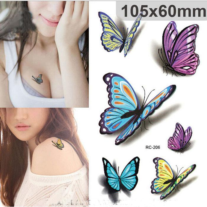 Sexy Waist Shoulder Water Transfer Tattoo Decal Waterproof Temporary Tattoo Sticker Colorful Butterfly Fake Tattoo free ship