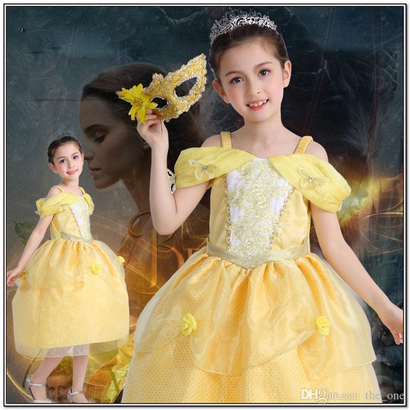 Girl Kid Princess Belle Dress Beauty And The Beast Halloween