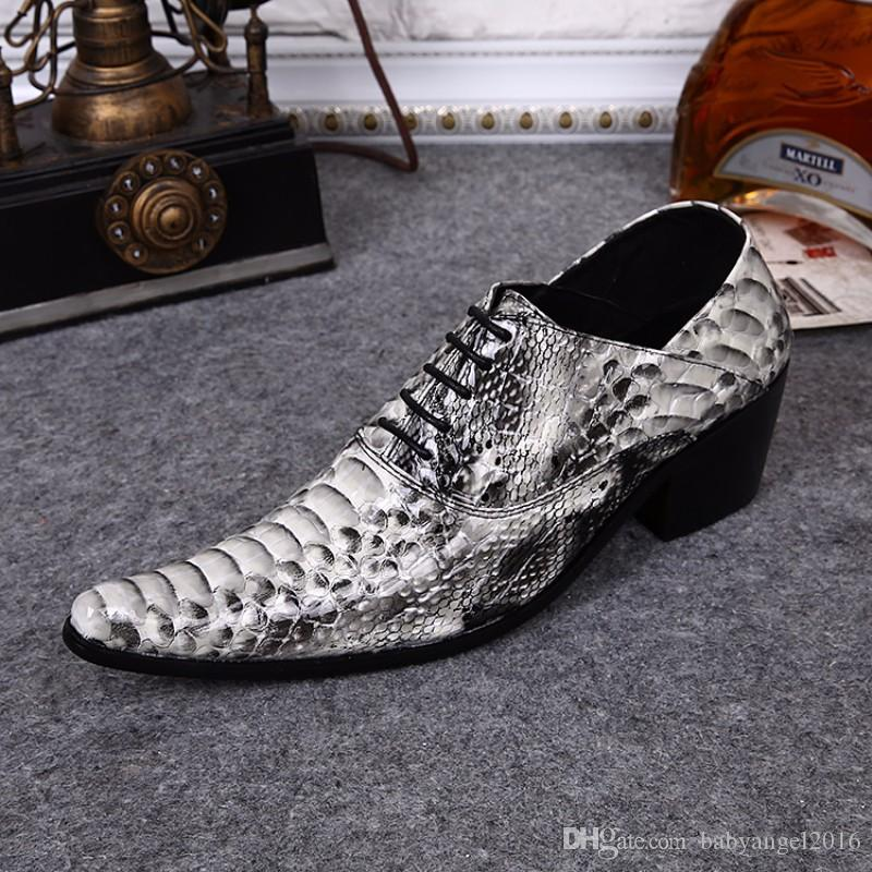 Fashion Italian Men Shoes Snake Pattern Formal Dress Shoes For Men Wedding and Business Oxfords Shoes Lace Up Men Flats Big Size