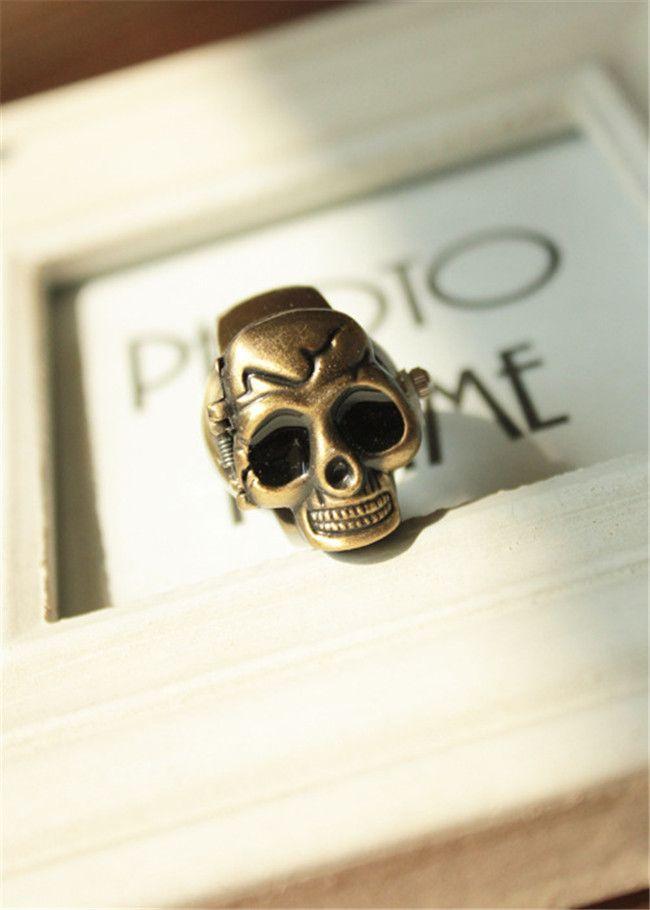 Classic Antique Brass Skull Skelett Metall Ring Finger Klocka Kreativ Ring Klockor Skull Head Cover Clamshell Finger Ring Watch Gift