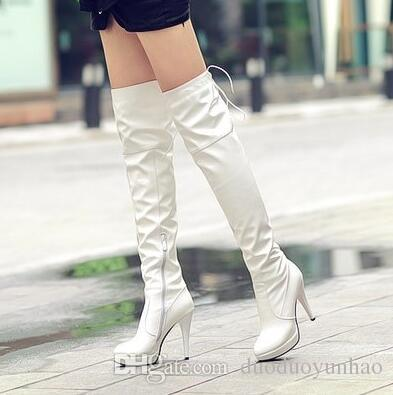 Fashion New Women patent leather belt knee boots high heel boots waterproof table sexy steel boots discount low cost fashion Style for sale outlet shop ak9ECQpL