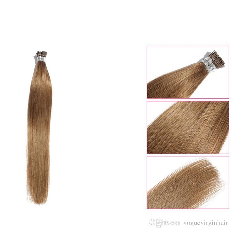Doğal Siyah # 2 Renk i-ucu Saç Uzatma 100 yüksek kaliteli önceden bağlı ucu saç uzatma 0.5 g / stand düz saç
