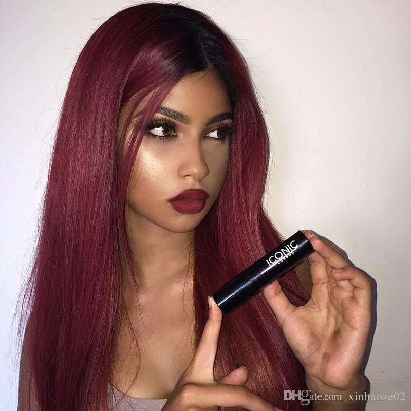 1bt99j Human Hair Wig Dark Root Ombre Red Human Hair Wig