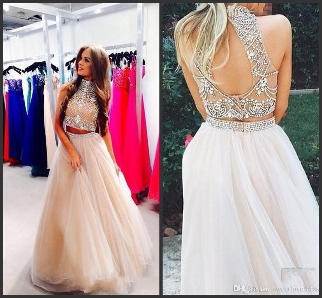 a444438c701f 2018 Sexy Two Pieces High Neck Beaded Prom Dresses Top Champagne Tulle  Floor Length Formal Party Dresses Evening Gowns Short Prom Dress 2015  Summer Prom ...