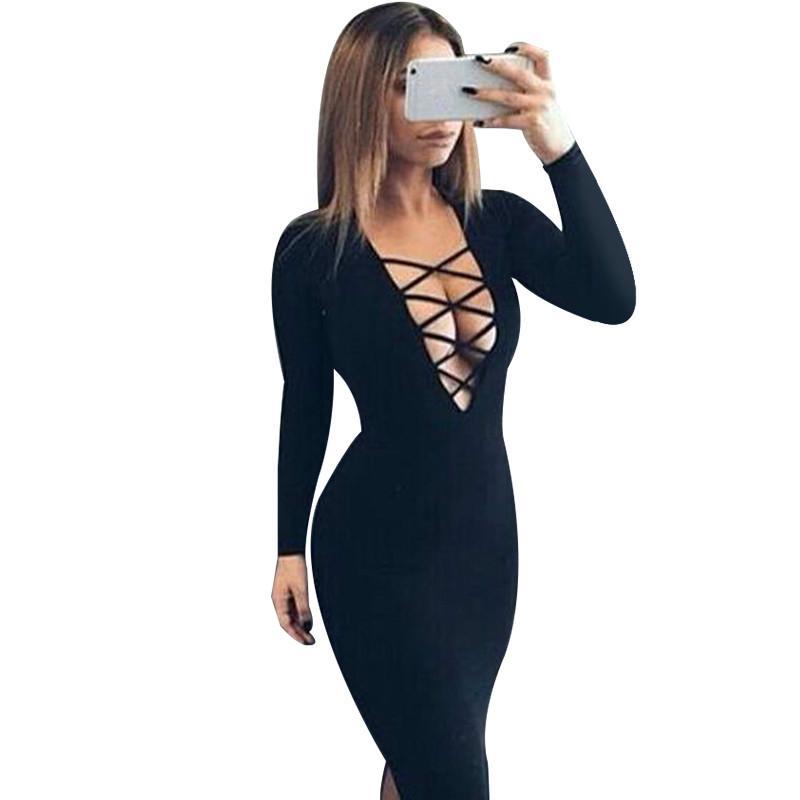 2d59984ad6442 2019 Vestidos Cotton Women Tie Up Autumn Bodycon Party Dress Sexy Deep V  Neck Criss Long Sleeve Night Club Bandage Dress From Jokay