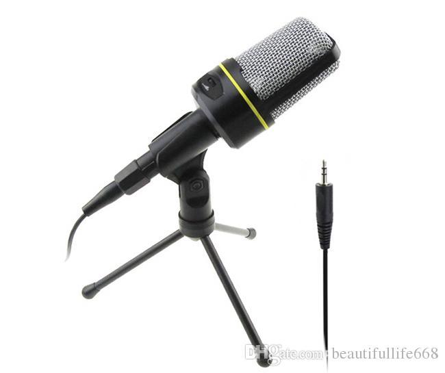 Profesyonel Kondenser Ev Ses Stüdyosu Ses Kayıt Mikrofon 3.5mm Jack MIC Masaüstü Skype Masaüstü PC için Şok Dağı