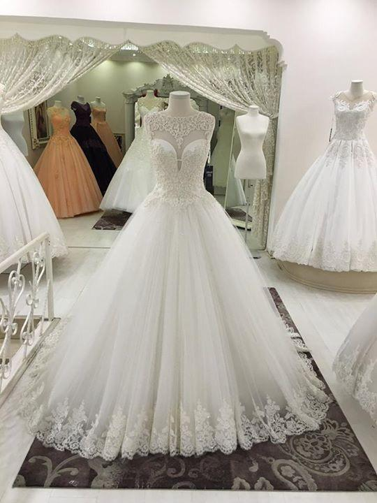 Appliques Floor Length Ball Gown O Neck Wedding Dress Sweep Train ...