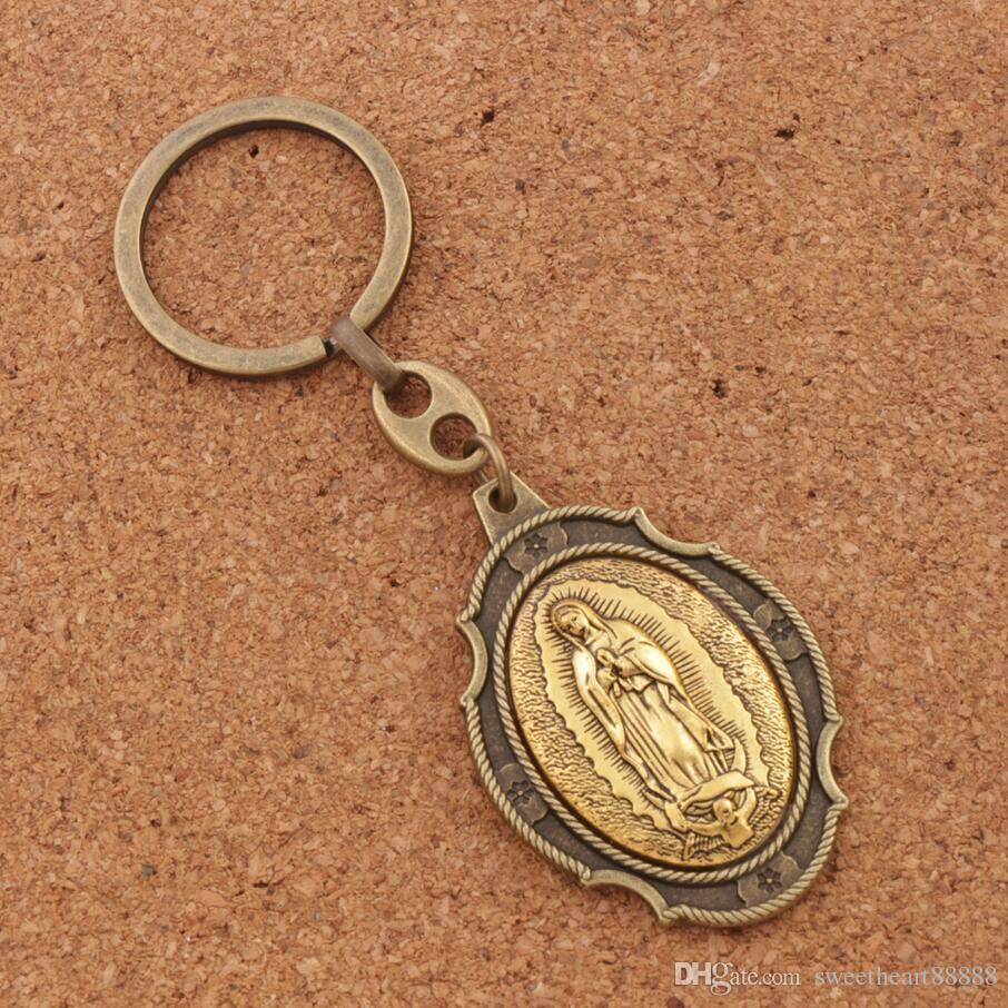 12 pçs / lote Nossa Senhora de Guadalupe 2 inch Ícone Metal Blessed Mãe Chave Anel Chave de Proteção de Viagem Cadeia K1740 12 cores