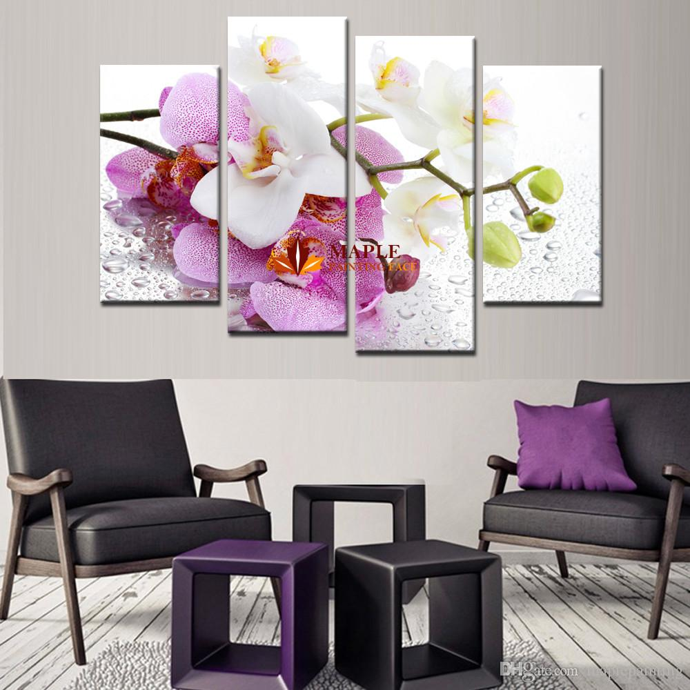 Hot Sell 4 Pcs Pink Orchid Flowers Wall Art Picture Modern Home Decoration Living Room Canvas Print Painting Canvas Art Decorative Picture