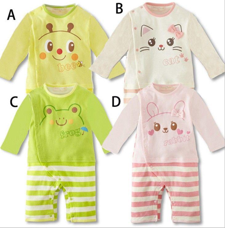 Spring Autumn New Born Babies Romper Children Climb Clothes Kids Printed Animal Cute Korean One-piece Rompers Jumpsuit B4770