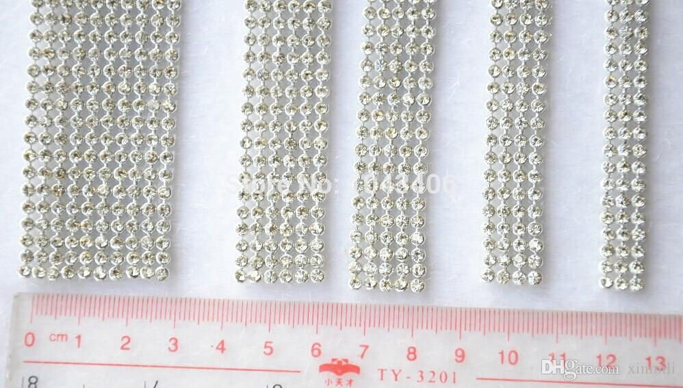 promotion!3mm 2rows 1.2meter Crystal Clear Stones Silver Hot Fix Rhinestone Mesh Trimming Aluminium base Pasted Sew-on Net Drill