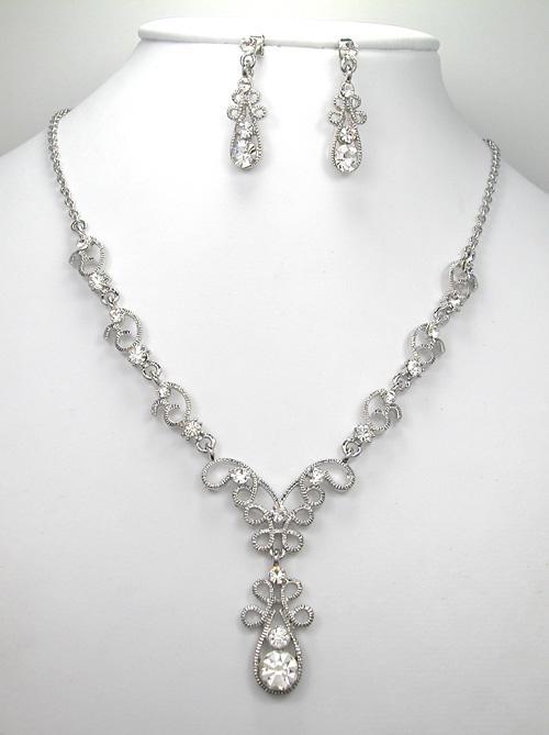 Gros cristal strass fleur ensembles de mode de mariage parti bal set bijoux cadeau H142