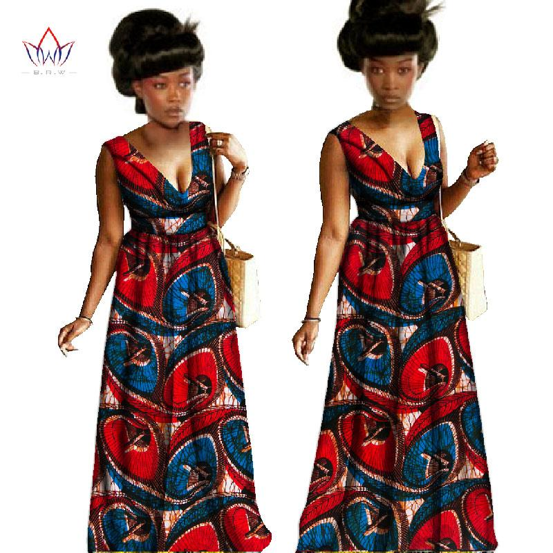 2018 brw 2017 bazin african wax print sexy v neck dresses plus