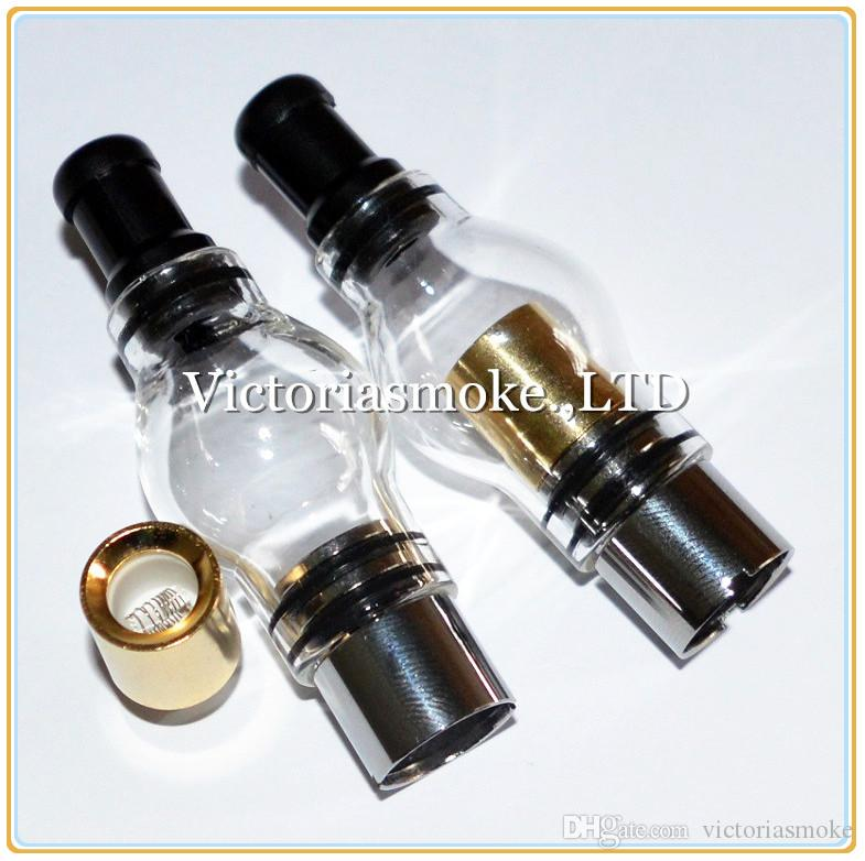 DHL Free Glass Globe Atomizer Dry Herb Vaporizer Wax Vapor Tank with Gold Dual quartz Coil Head for EGO T Evod Battery ecigs