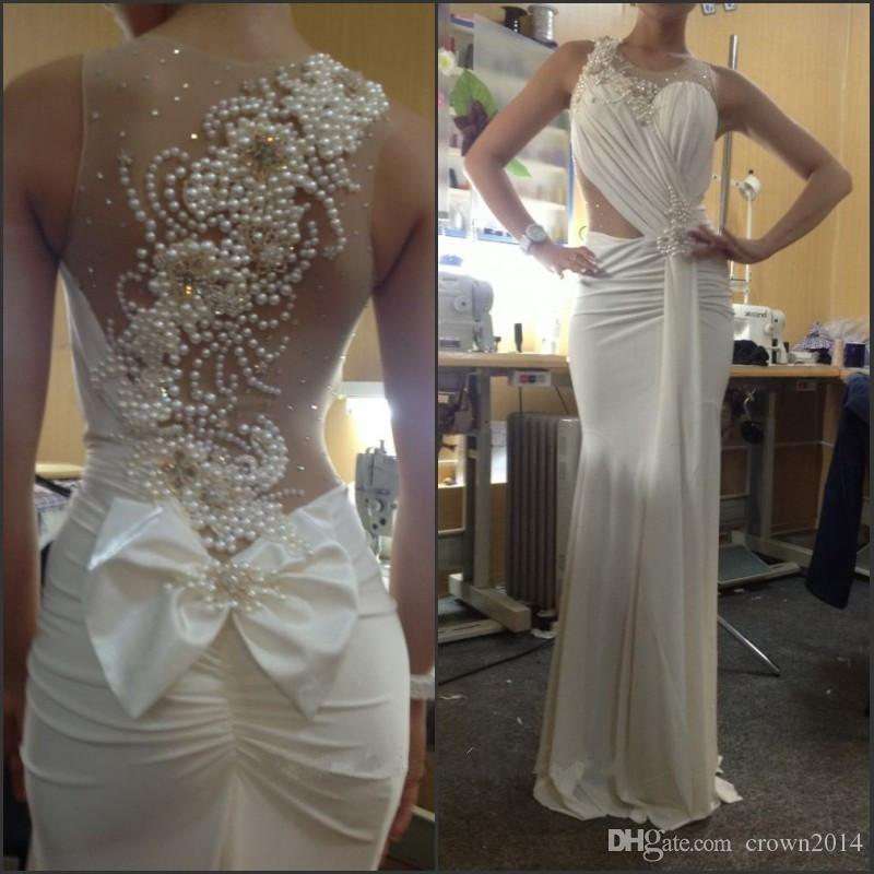 Sexy Mermaid Long Evening Dresses 2019 Pleated See Through Back White Ivory Beaded Pearl Evening Party Gowns With Bow Real Picture