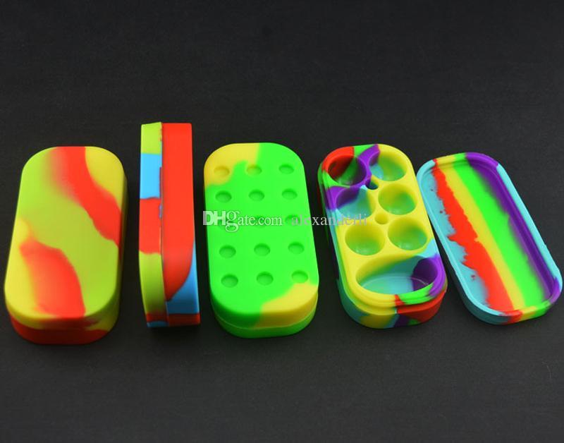 Silikon 6 + 1 Antihaft-Gläser Tupfen-Behälter-Silikon-Kasten für Zerstäuber E Cigs Öl-fester FDA-Nahrungsmittelgrad-Silikon-Kasten-Wachs-Behälter