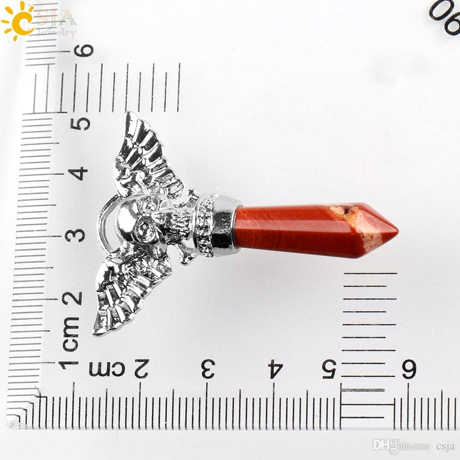CSJA Fashion 2017 New Punk Skull Skeleton Charms Necklace Pendant Natural Stone Pendant for Men Women Angel Wings Neck Body Jewelry E576 A