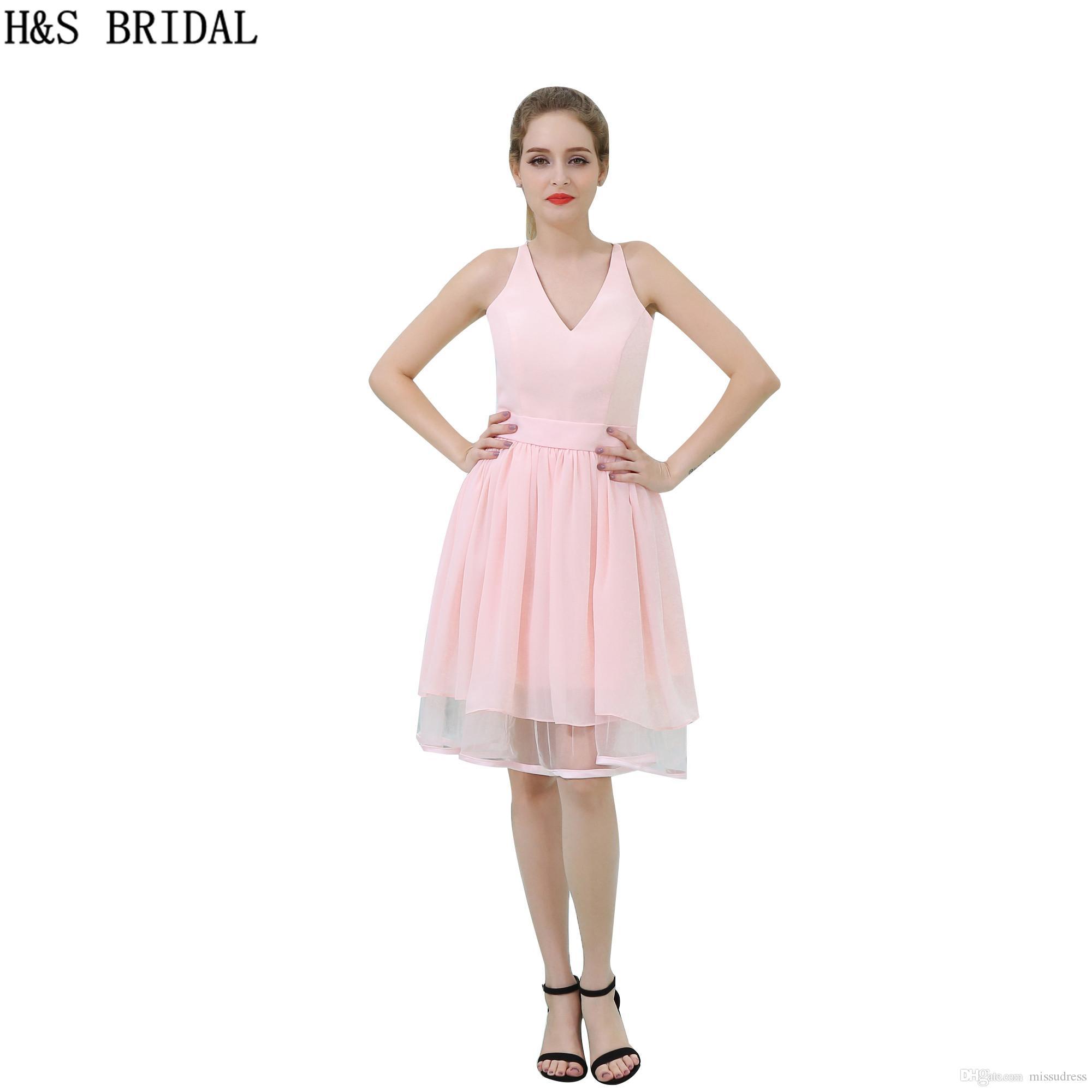108d8f625 Compre Gasa Rosa Corto Vestido De Dama De Honor Barato Con Cuello En V  Vestidos Niñas Vestidos De Fiesta Espalda De Moda De Encaje Vestidos De  Baile B060 A ...