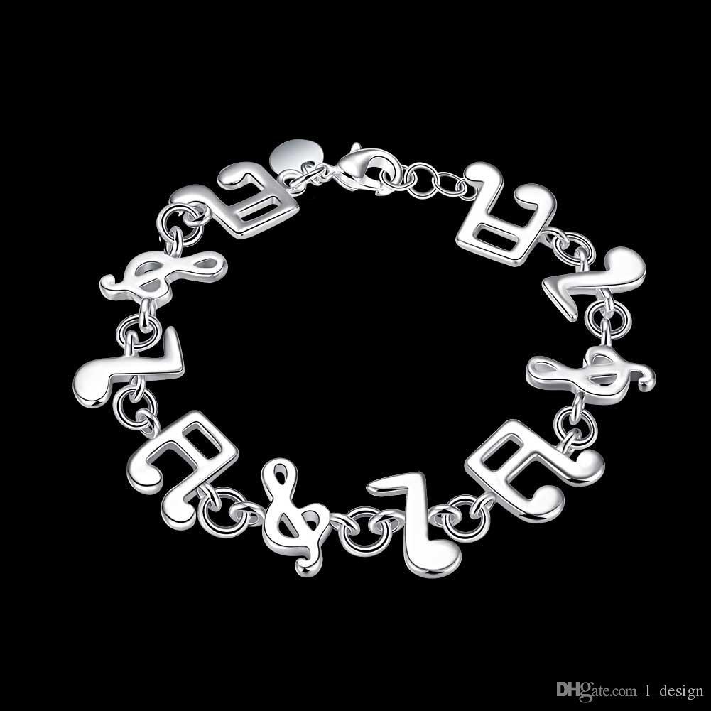 2017 SOMMER HEIßER Verkauf schöne Musiknote Charme Schmuck Armband Silber Überzogene Beste Liebhaber Freund Geschenk