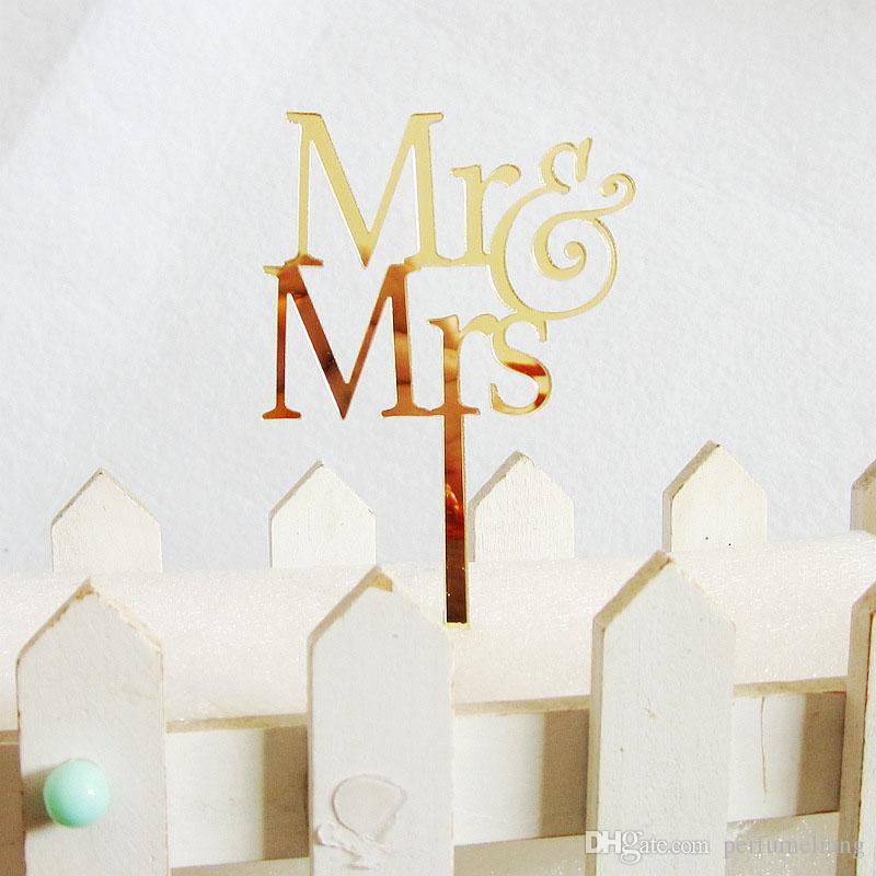 Mr&Mrs Elegant Acrylic Wedding Cake Topper Bride Groom Couple For Wedding Decoration Cake Decor ZA3773