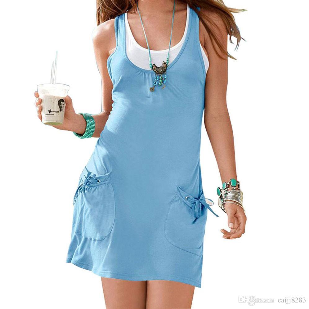 Fashion Set Women Summer Tank Casual Dress Plus Size Ladies Beach