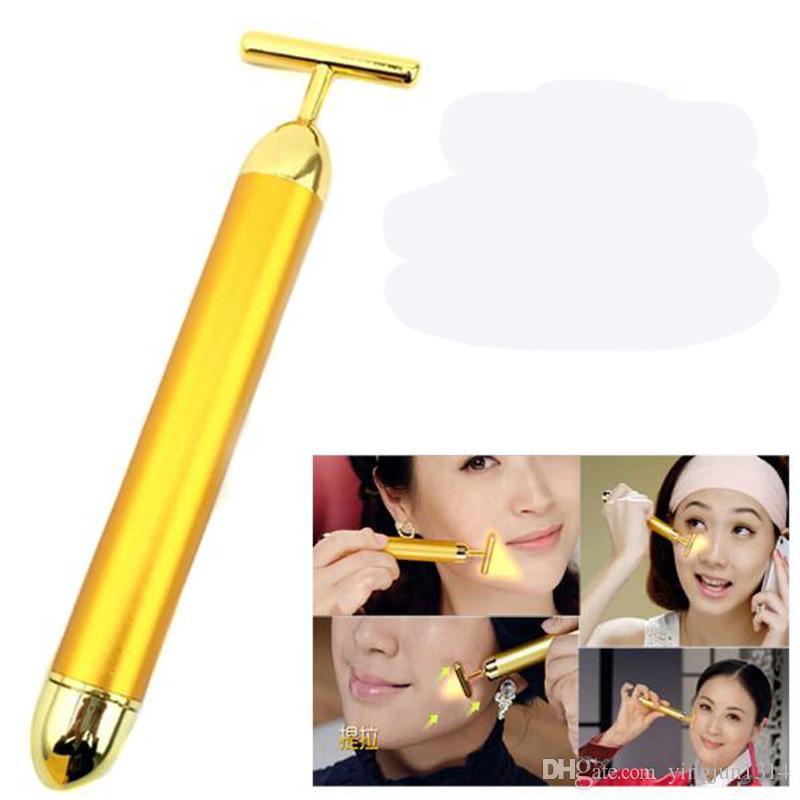 Viso caldo 24k oro vibrazione bellezza viso rullo massaggiatore bastone ascensore pelle che stringe antirughe bastone bar viso cura della pelle