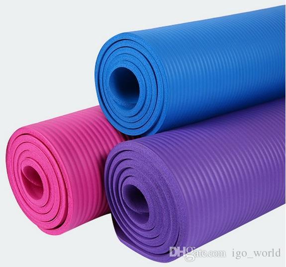 Высококачественный 183 * 61 * 1.0cm NBR йога коврик 10мм Натуральный каучук высокой плотности Нескользящие Pad Пилатес Фитнес с детьми пикника Tie ползать