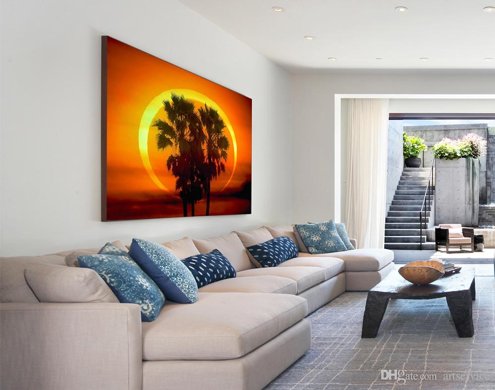 1 Panels Sunset Tree Seascape Painting Home Decor Wall Art Picture Digital Art Print Canvas Printed Picture for Living Room