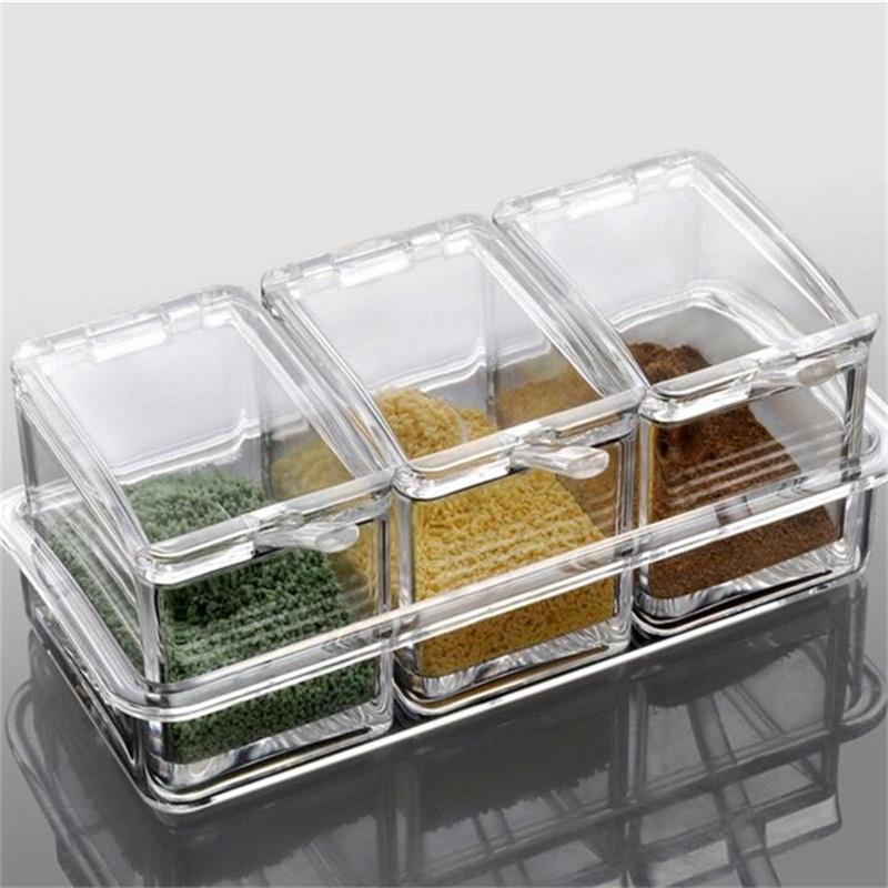 Kitchen Supplies Transparet Plastic Seasoning Box Case Condiment Bottles  Set Salt Spice Jar Spices Storage Box Kitchen Tool High Quality Box Favor  China Box ...