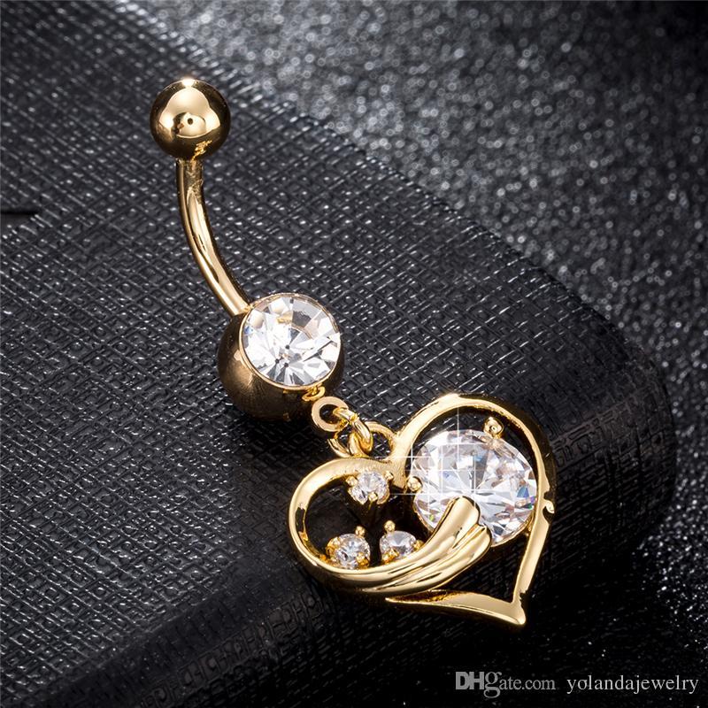 100% Brand New Alta Qualidade Moda 18 K Banhado A Ouro Amarelo Amor Coração Ângulo Do Umbigo Anéis Para As Mulheres Da Jóia Do Corpo