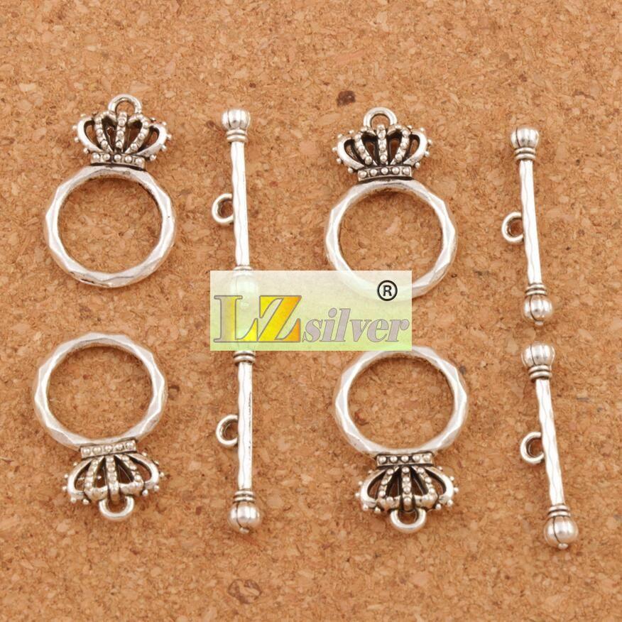 تاج سوار تبديل المشبك 100 قطعة / الوحدة العتيقة الفضة والمجوهرات النتائج مجوهرات النتائج مجوهرات صالح أساور L864 مكونات 15.3x23.7 ملليمتر