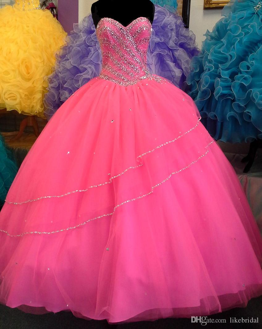 Hot girls in quiceneiera Lovely Hot Pink Quinceanera Dress For Girls 16 Years Ball Gown Sequined Beadings Top Quinceanera Dresses 2019 Soft Tulle Vestido Debutante From Likebridal 136 69 Dhgate Com