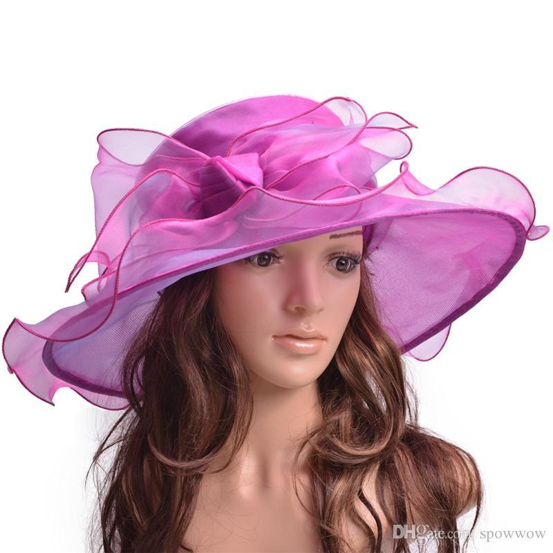 Big Bow Occasion Formal Tea Party Dress Womens Kentucky Derby Hat Wide Brim  Church Organza A454 Bucket Hats Bucket Hat From Spowwow 9a93c227e7b1