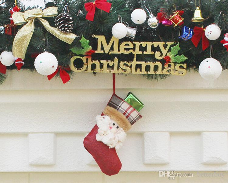 Nuovo arrivo Calze di Natale Decor Ornament Decorazioni feste Babbo Natale calza Candy calzini Borse Regali di Natale Borsa DHL