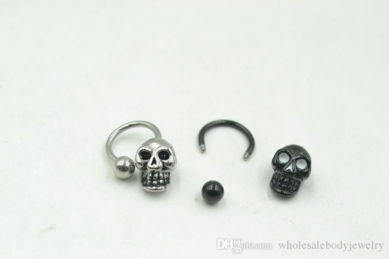 16G~1.2mm PUNK Skull Head Horseshoes Ball Nose/Ear/Lip/Nipple ring Mulit Use Ring body piercing jewelry CBR New 16g~1.2