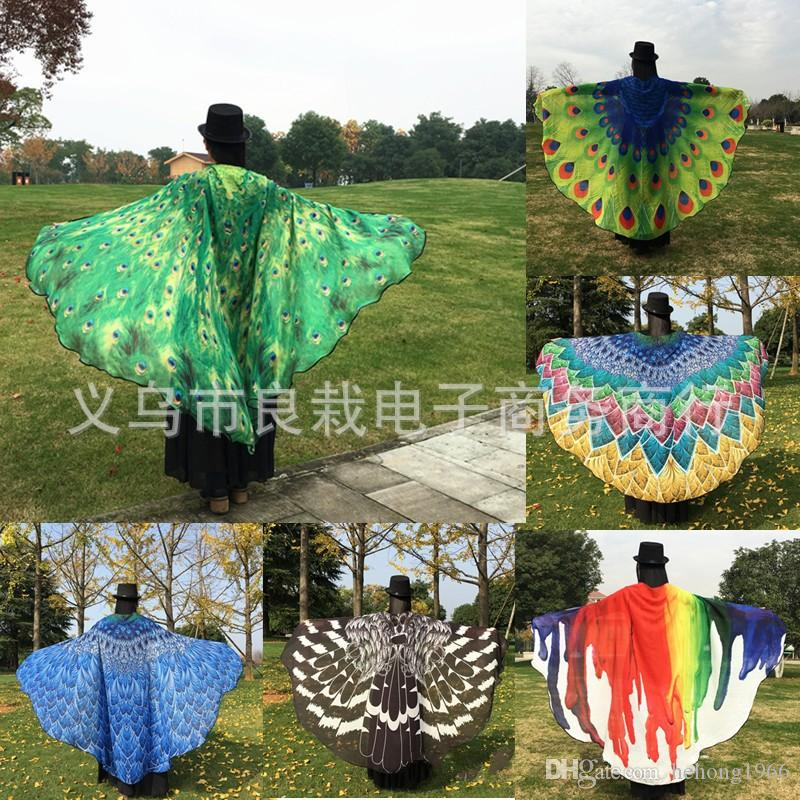 29rz Towel Peacock Feather Cloak Chiffon Sunscreen For Men And Women Scarf Inked Painting Beach Towels Factory Direct Sales