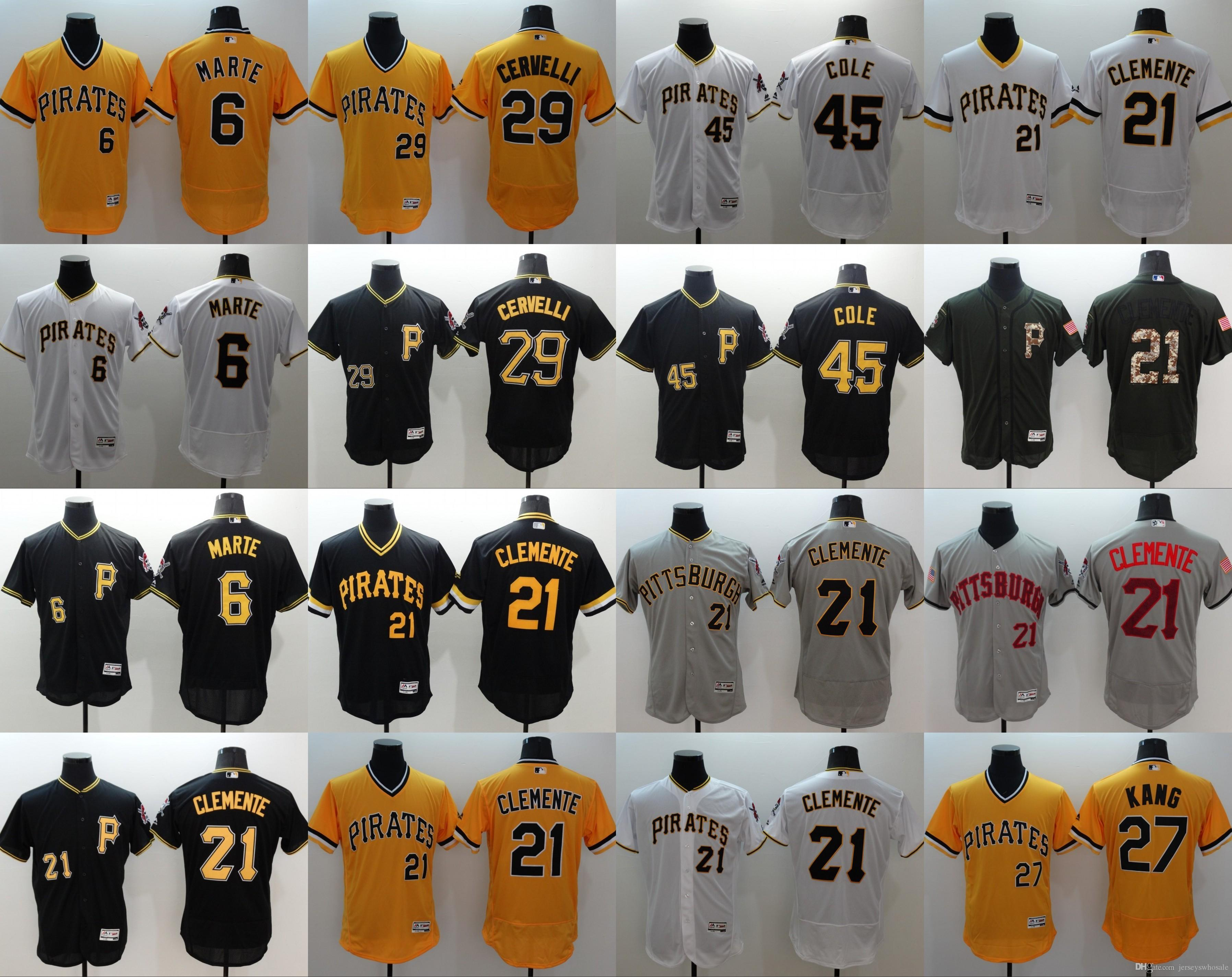 fe2b80a1d ... Authentic Collection Custom Jersey Mens Pittsburgh Pirates 21 Roberto  Clemente 45 Gerrit Cole 6 Starling Marte 29 Francisco Cervelli Flexbase ...