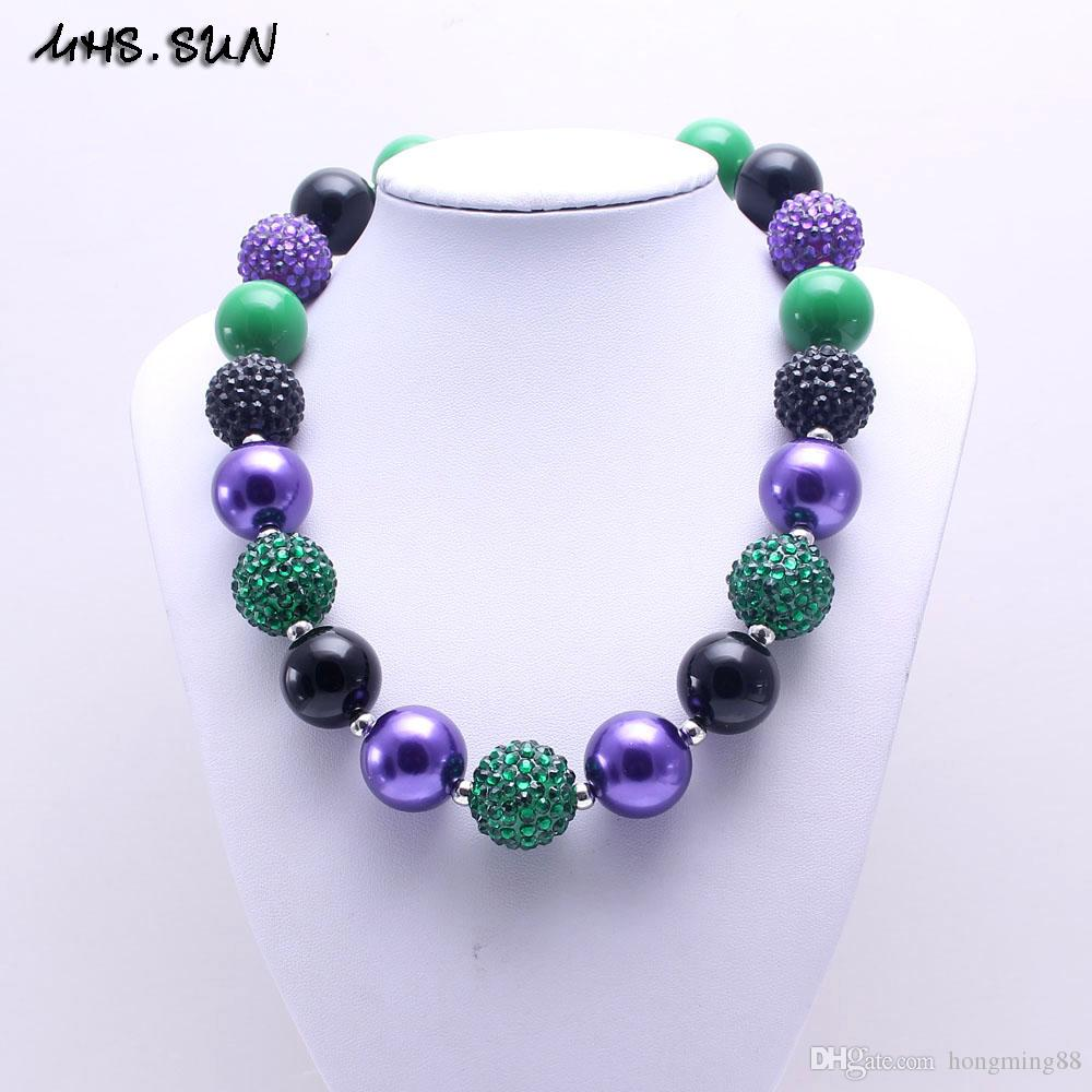 MHS.SUN Deep Green Color Christmas Kid Chunky Necklace Best Gift Bubblegume Bead Chunky Necklace Jewelry For Baby Kid Girl