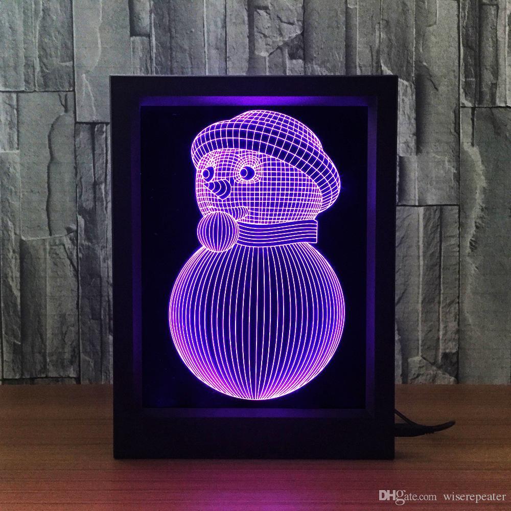3D Snowman LED Photo Frame Decoration Lamp IR Remote 7 RGB Lights DC 5V Factory Wholesale Drop Shipping