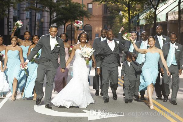 South Africa Style Nigerian Bridesmaid Dresses 2017 Light Sky Blue Sweetheart A Line Chiffon Front Split Maid Of Honor Gowns For Weddings